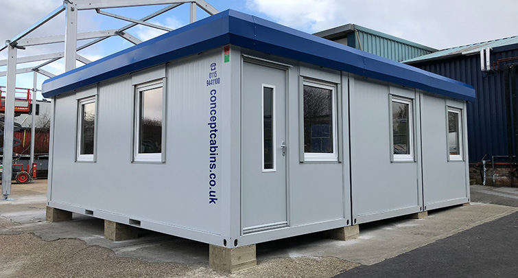 Concept Cabins - Modular 3 Bay, Grey with Blue Fascia on block pads