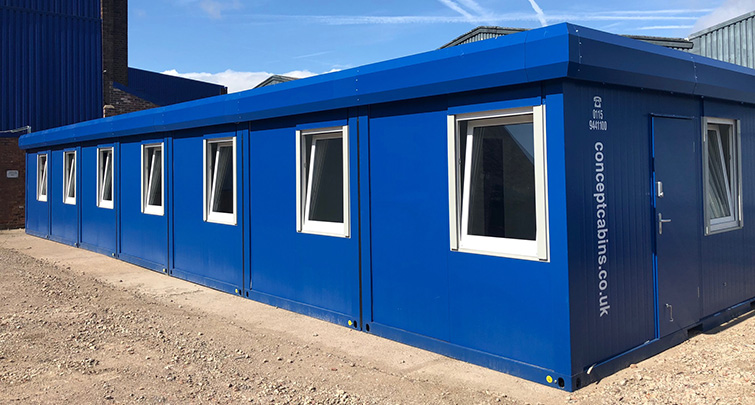 Concept Accomodation - Modular 7 Bay, Blue with Blue Fascia