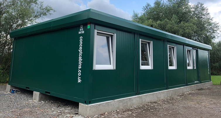 Concept Accommodation - Modular Building in Moss Green
