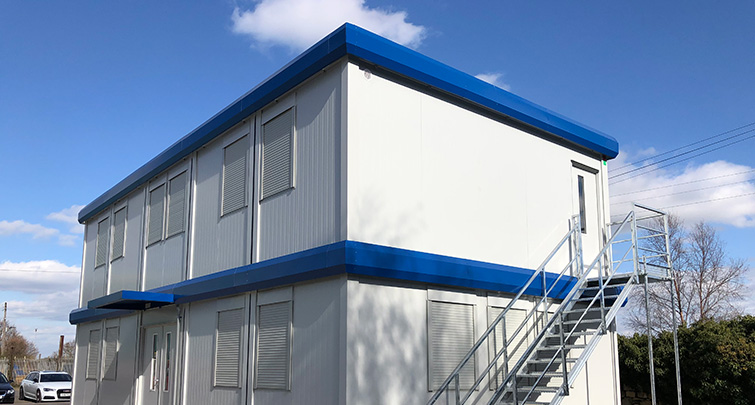 Concept Accommodation - Modular Building 5 on 5 - 12m x 6m Grey and Blue
